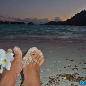 coucher de soleil sur la plage privee