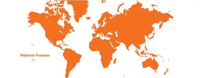 Polynésie sur map monde