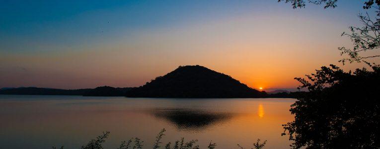 Coucher de soleil sur la route de Kandy