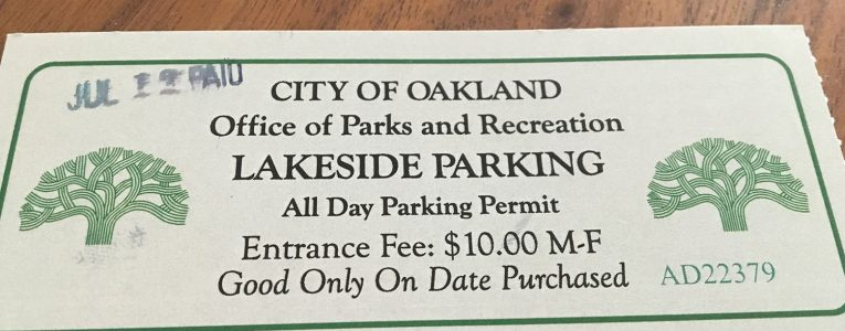 Ticket de parking pour le Lakeside Park d'Oakland