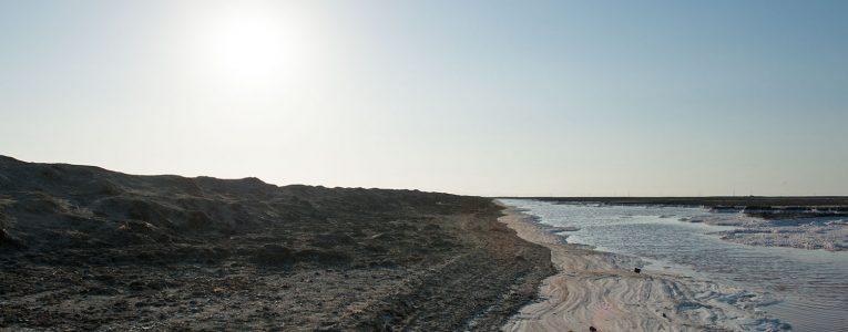 Plaques de sel au Alviso Parc au soleil couchant